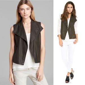 VINCE Paper Leather Moto Vest Military Green